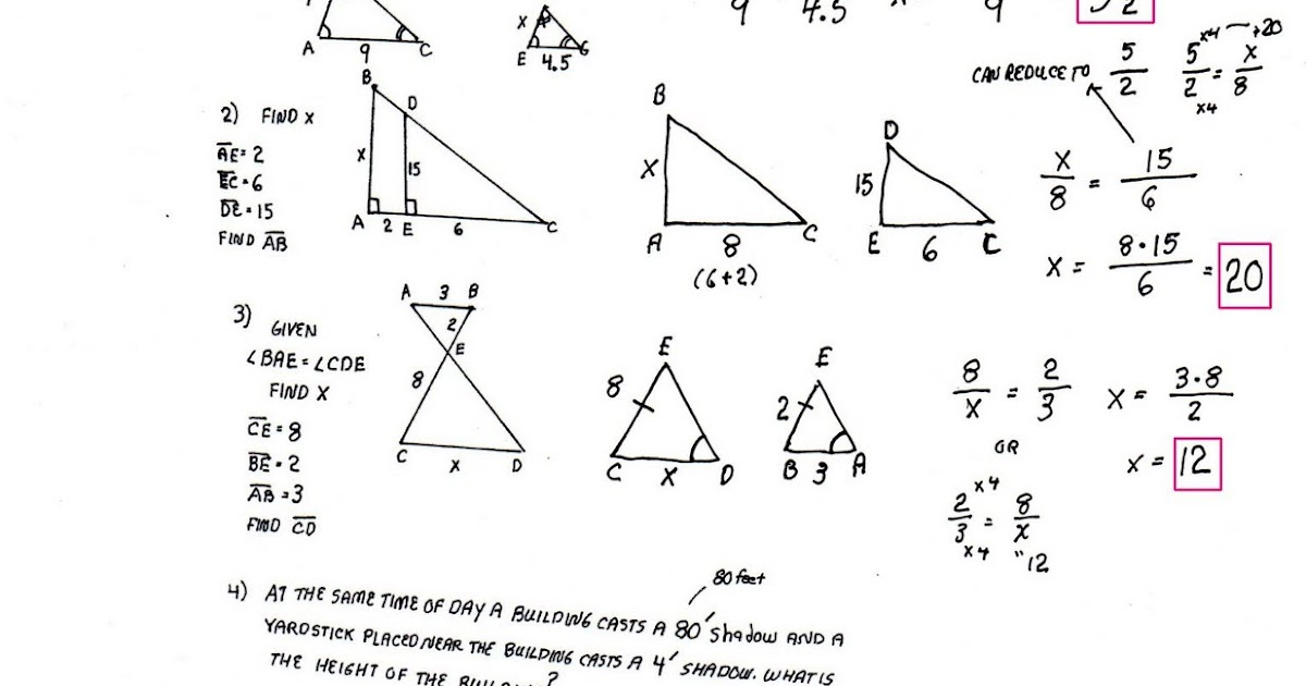 Cobb Adult Ed Math: Solutions to Similar Triangles Problems