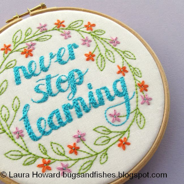 Never Stop Learning DIY embroidery hoop art