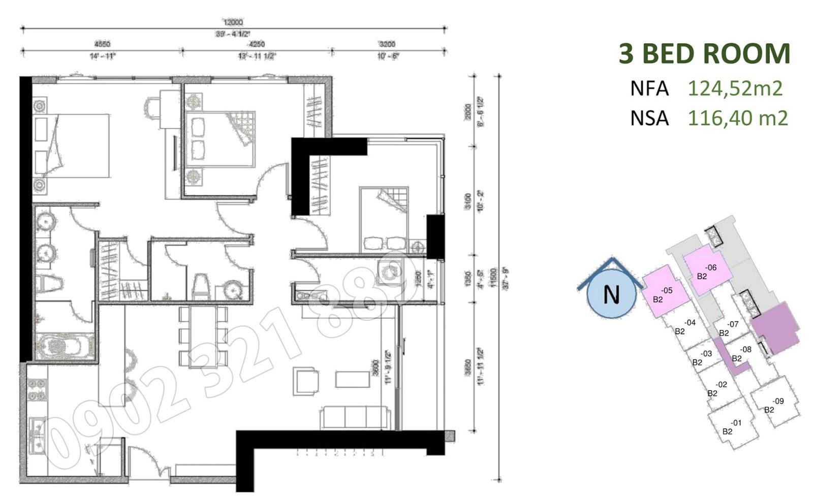 mặt bằng căn hộ sunwah pearl 3 phòng ngủ B2-05 và B2-06
