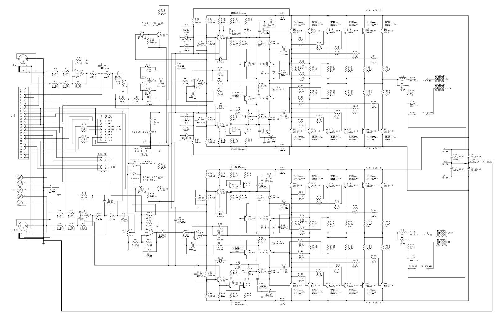 Electro Help Hi Power Stereo Amplifier Circuit Diagram