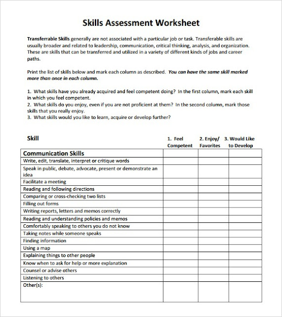 Skills Assessment Templates Word Excel PDF – Technical Assessment Template