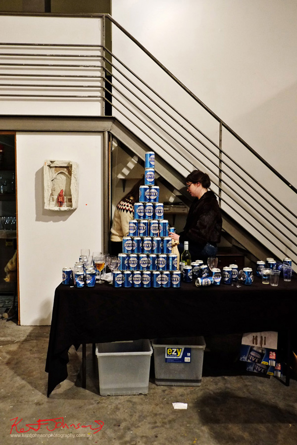A pyramid of Rivet beer cans: 'Double Vision' MLS999. June 2016. Mils Gallery. h.j.huwman and Drano. Photography by Kent Johnson.