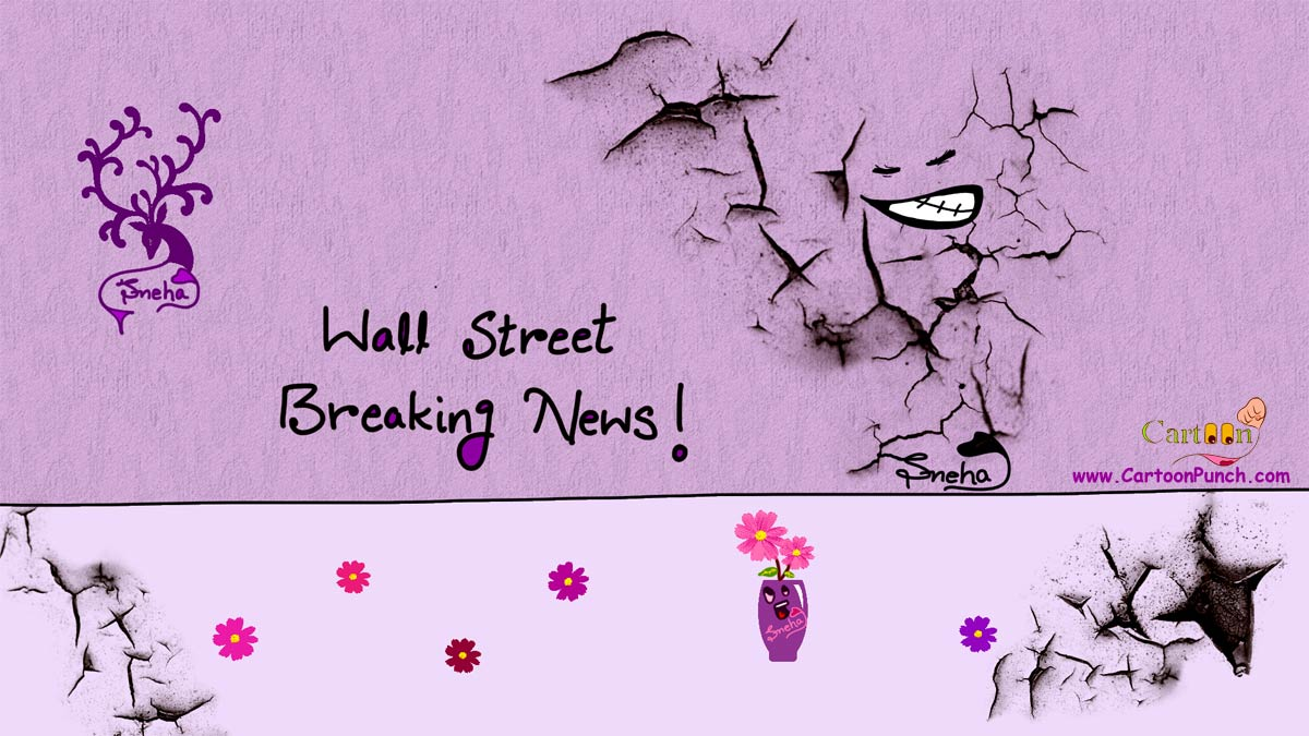 Wall Street Breaking News cartoon illustration by sneha
