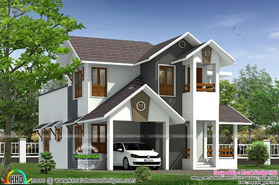 Sloping roof house by Mozak Design Hub