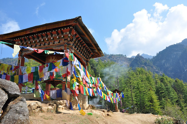 Prayer Flags and Mountains in Bhutan