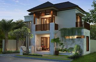 Rumah Dua Lantai dengan Arsitektur Kayu dan Keramik