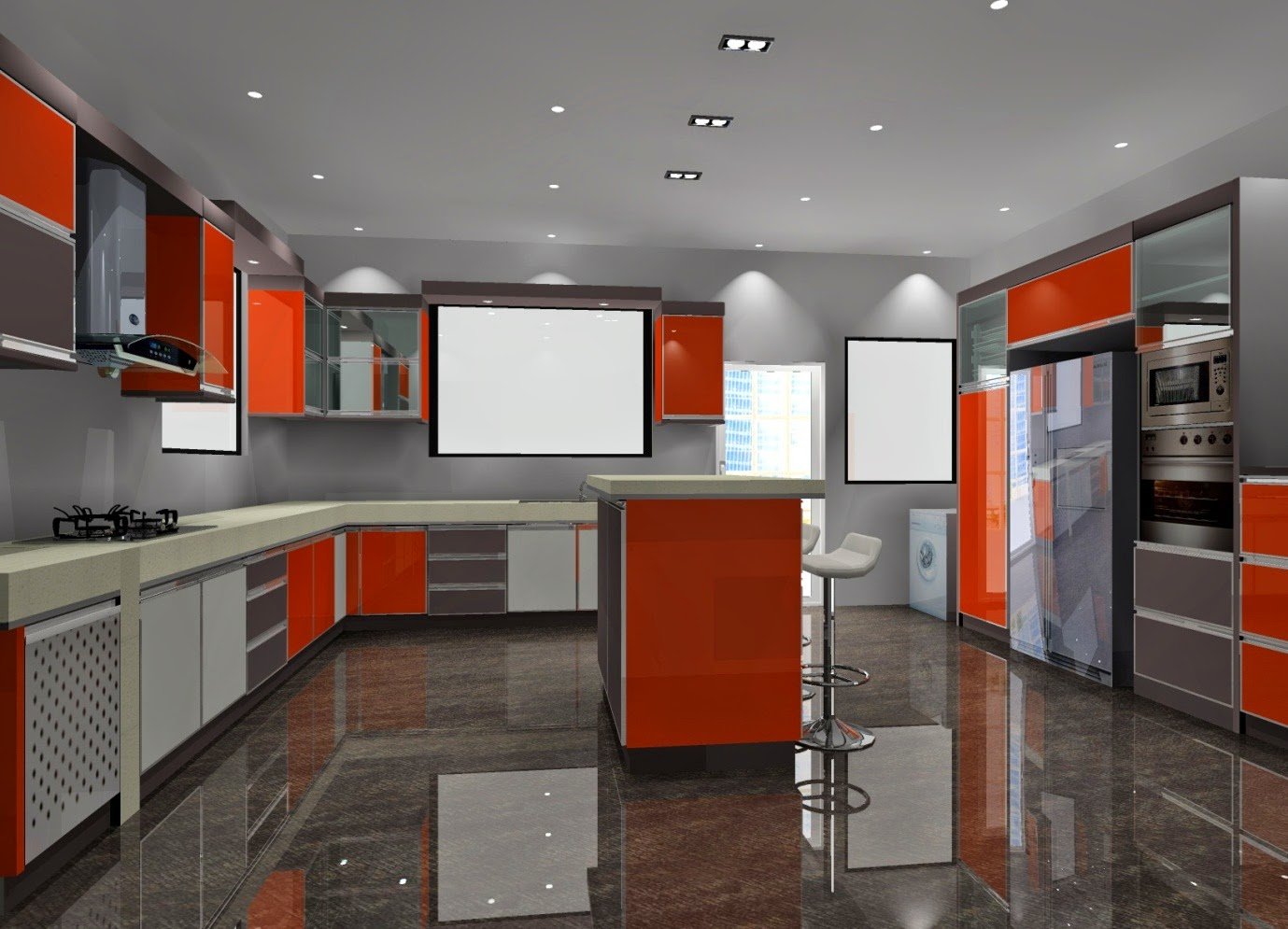 Kabinet Dapur Ini Sangat Ekslusif Dengan Ilham Dari Rekabentuk Internet Pelanggan Meminta Untuk Memainkan Warna Formica Merah Gloss Kelabu Serta