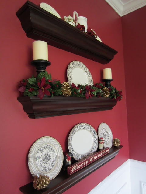 Red Walls with Ledge Shelves