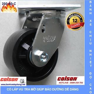 Bánh xe chịu nhiệt, bánh xe lò sấy, bánh xe lò hấp, bánh xe Colson www.banhxedayhang.net