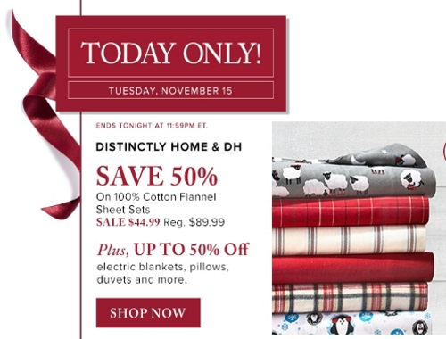 Hudson's Bay 50% Off Distinctly Home & DH Cotton Flannel Sheets Sets + Up To 50% Off Electric Blankets, Pillows, Duvets and More