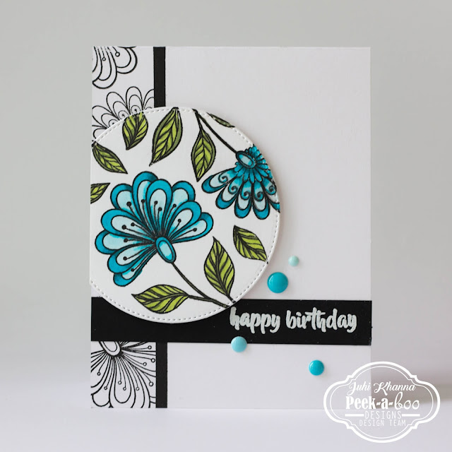 CAS card using Peek-a-boo design Floral Fantasy stamps