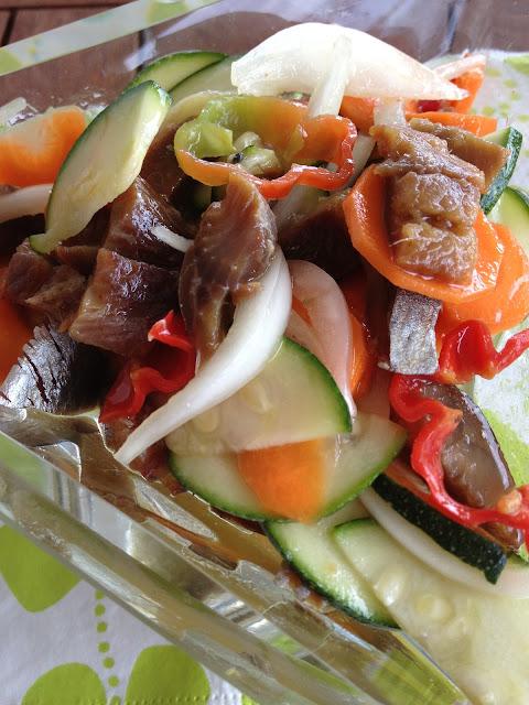 salade de hareng fumé, piment, cuisine antillaise