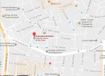 Mapa de localização da Cinemateca Brasileira