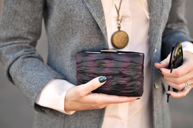nicole miller clutch, nails, sunglasses, vintage locket necklace