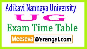 Adikavi Nannaya University UG 2017 Exam Time Table