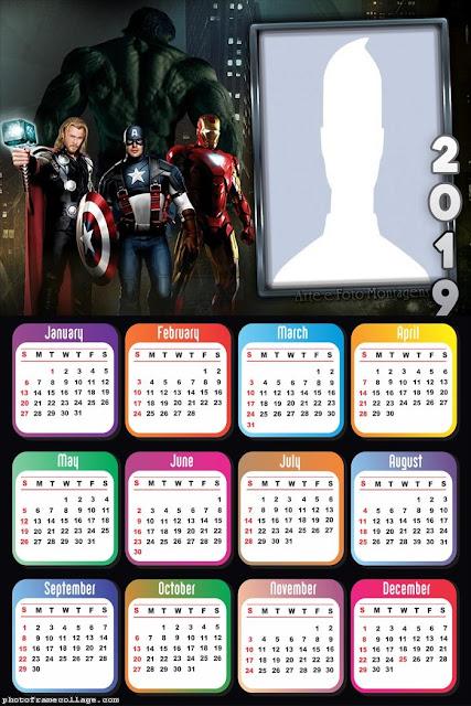 Calendario 2019 de los Vengadores para Imprimir Gratis.