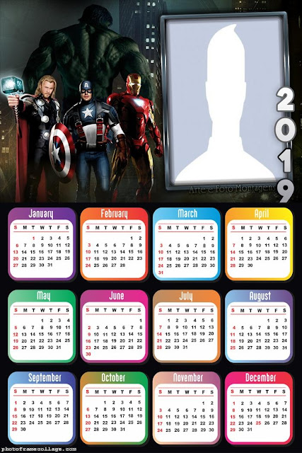 Free Printable Avengers 2019 Calendar.