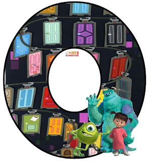 Alfabeto de Mike, Sully y Boo con las Puertas de Monsters S. A.
