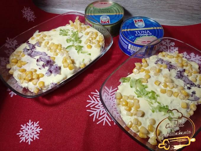 Salata de ton cu porumb si maioneza