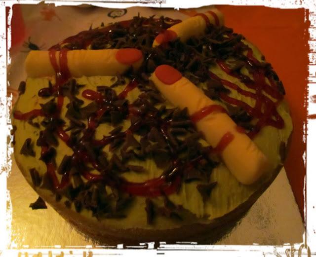 Halloween gruesome finger cake
