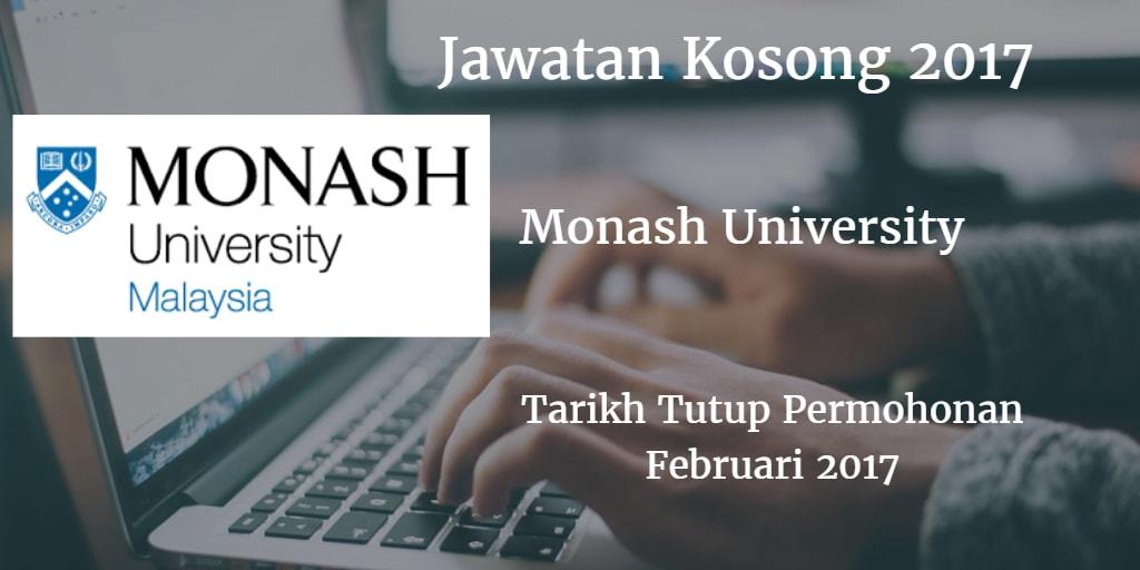 Jawatan Kosong Monash University Februari 2017