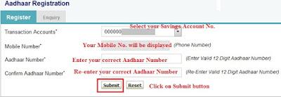 OnlineSBI - Aadhaar Number Registration