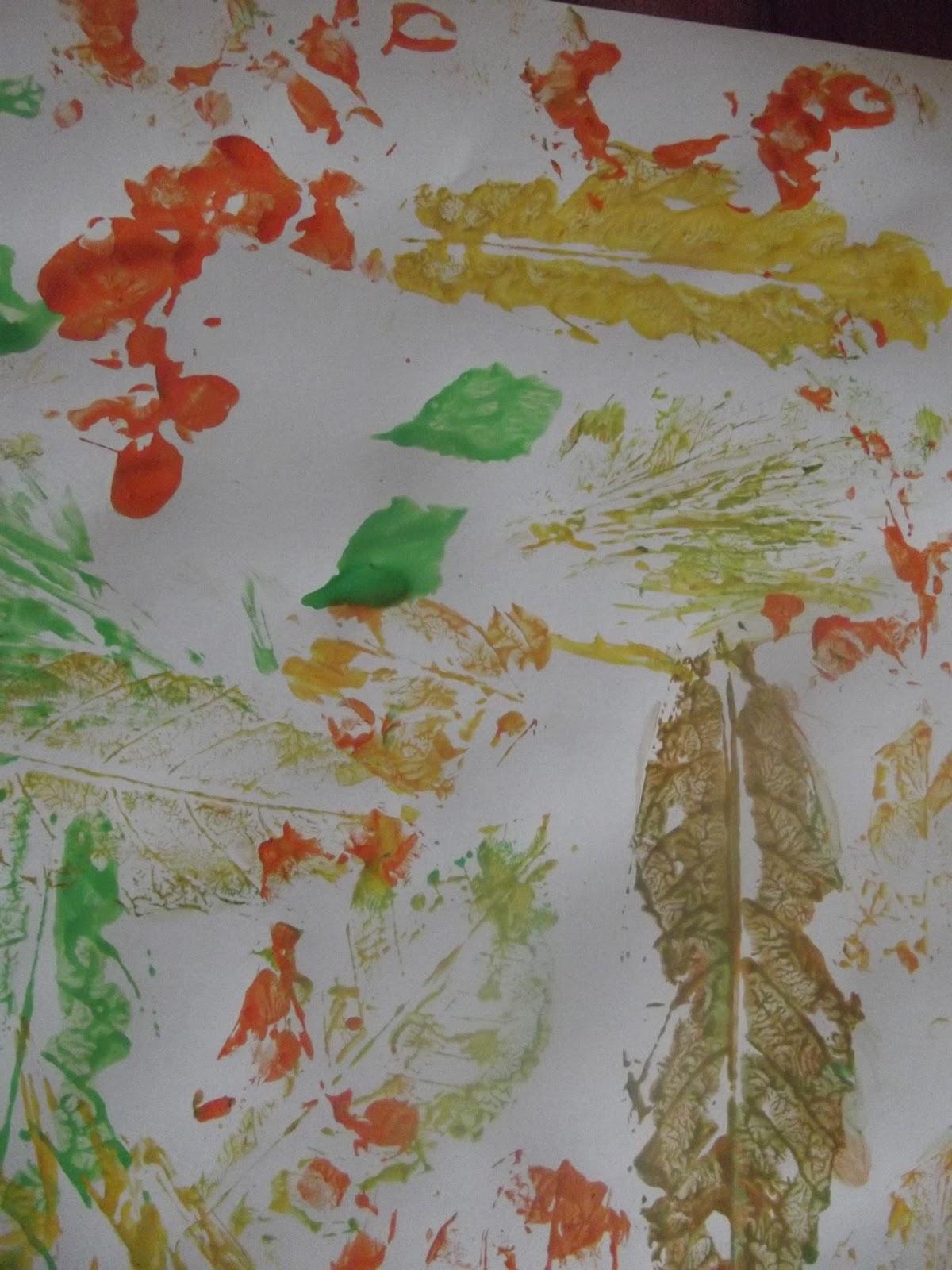 çocuğumla Eğlenirken Yaprak Baskısı Ve Makarna Boyama