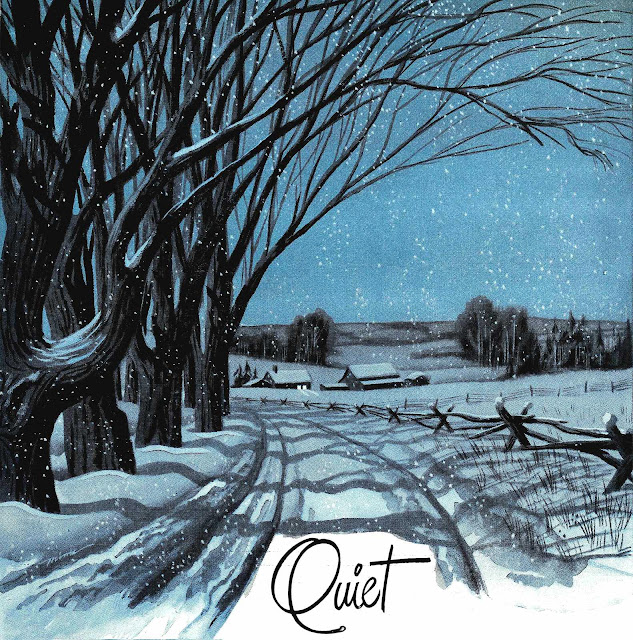 1945 illustration of a quiet winter road at night