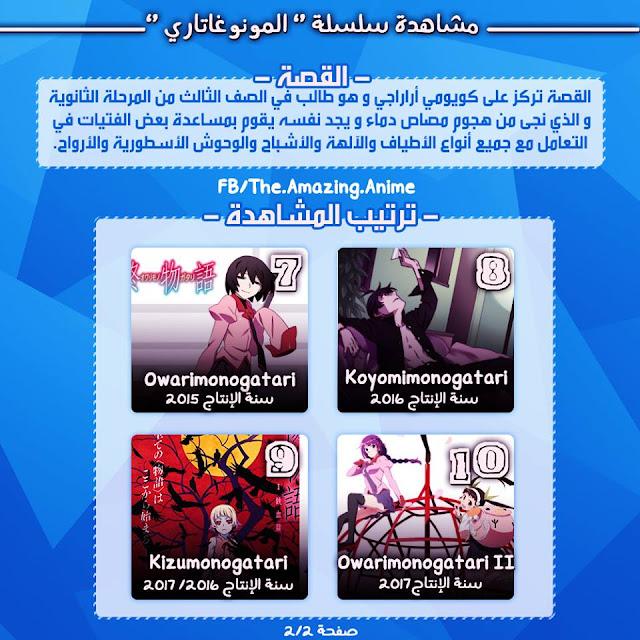 سلسلة انمي Monogatari كاملة جميع المواسم وترتيب المشاهدة مترجمة على عدة روابط