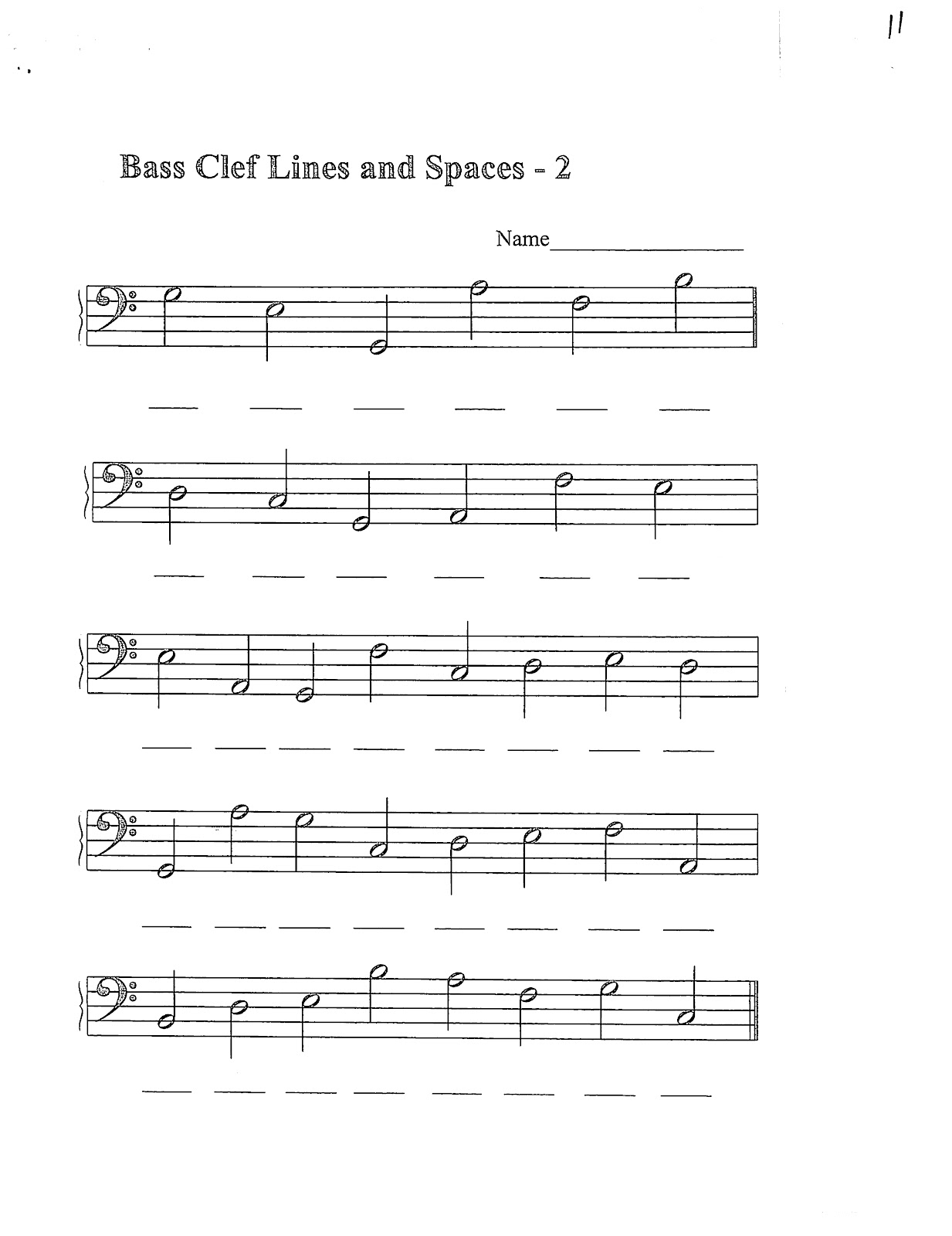 Bass Clef Lines Worksheet