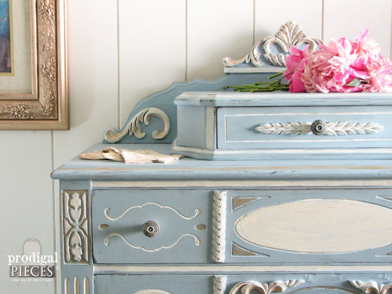 painted blue dresser