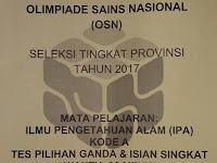 Soal OSN SD Mata Pelajaran IPA Tahun 2017 Tigkat Provinsi
