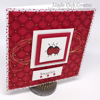 Linda Vich Creates: Love You Lots Valentine. A faux quilted background showcases two little ladybugs on this sparkly red Valentine.