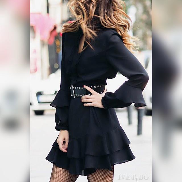 Μακρυμάνικο  μίνι μαύρο φόρεμα DARMA BLACK