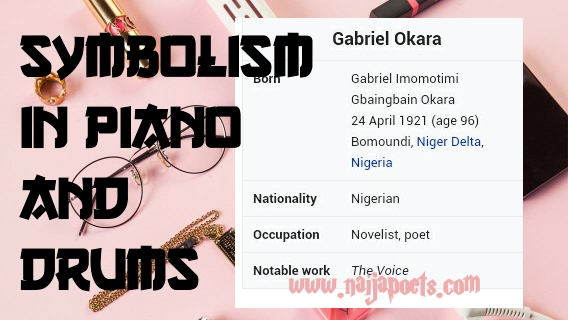 piano and drums drums gabriel okara discuss following poem What is the poetic device in the poem piano and drums by gabrielokara go what is the poetic device in the poem piano and drums by gabriel okara.