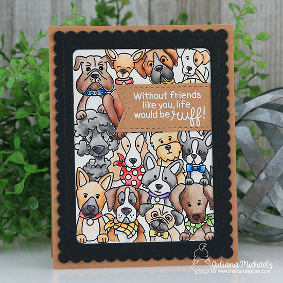 Life would be Ruff Dog card by Juliana Michaels   Woof Pack Stamp Set and Frames & Flags die set by Newton's Nook Designs #newtonsnook