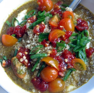 lentil soup with quinoa, yogurt, sambal oelek, and homegrown scallions and tomatoes