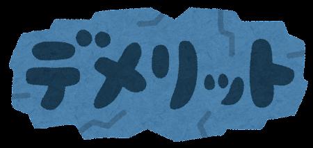 「デメリット」のイラスト文字