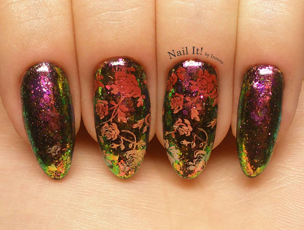 "Autumn Roses Nail Art (multichrome transparent flakies + B. Loves Plates ""B.02 Flower Power"" stamping plate)"