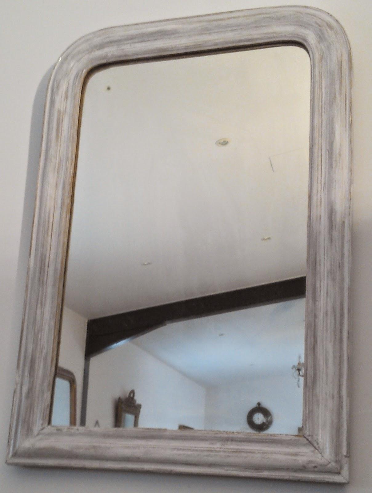 ancien miroir louis philippe patin blanc. Black Bedroom Furniture Sets. Home Design Ideas
