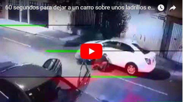Apenas 60 segundos para dejar a un carro sobre unos ladrillos en Venezuela