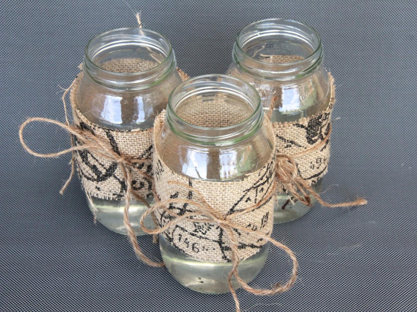DIY Centrepiece Ideas - Glass Jars Decorated with Burlap ...