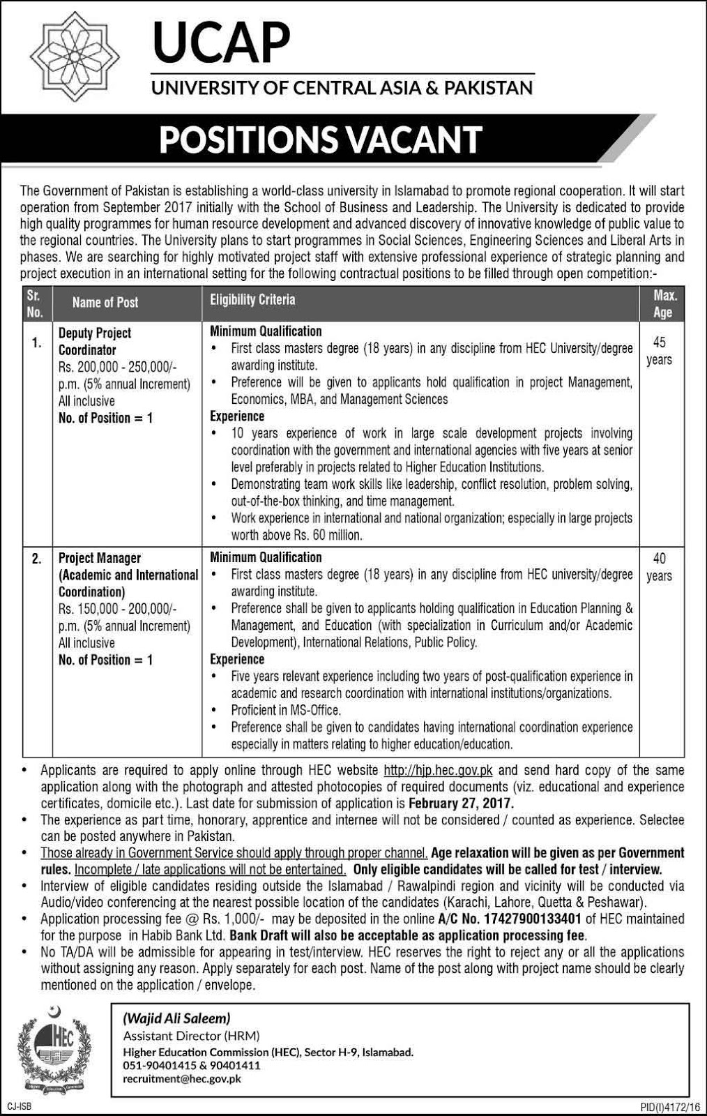 University of Central Asia UCAP Islamabad Jobs