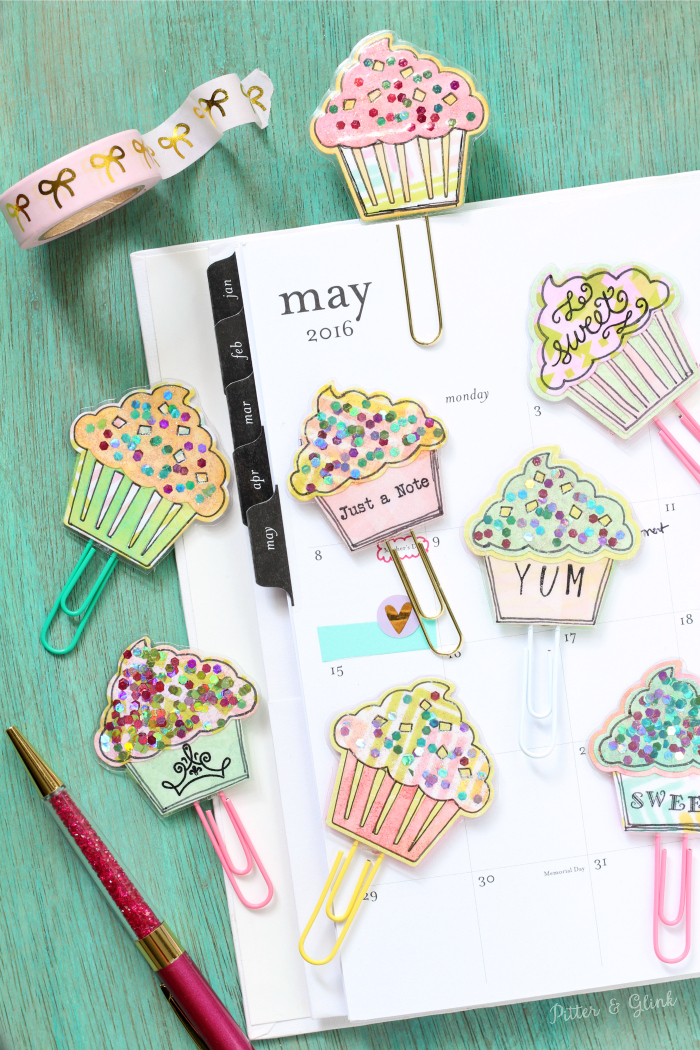 How to Make Sparkly Cupcake Planner Clips | pitterandglink.com