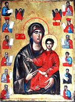 Maica Domnului cu pruncul inconjurata de Sfintii Proroci, icoana pe lemn