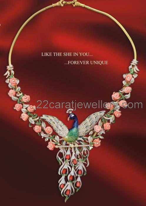 Rose Cut Coral And Peacock Work Necklaces Jewellery Designs