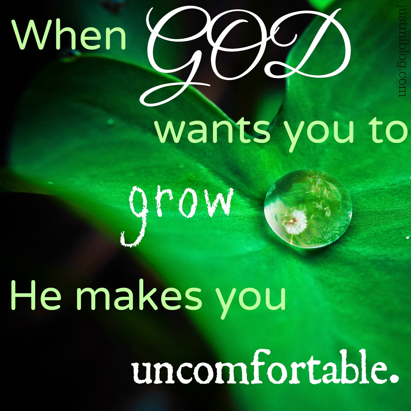 When God wants you to grow He makes you uncomfortable quote.