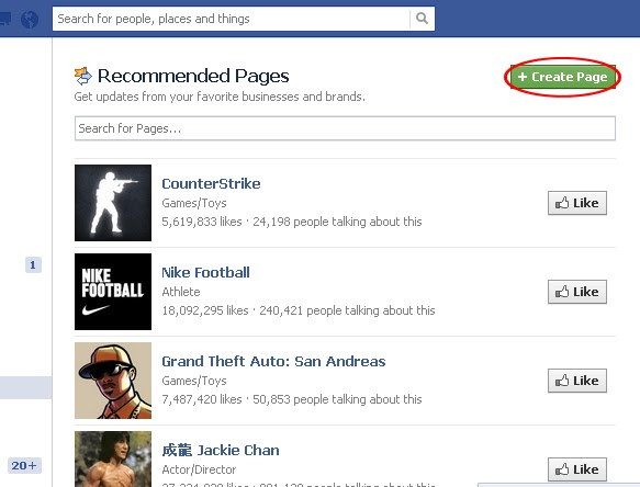 Steps to create a facebook page