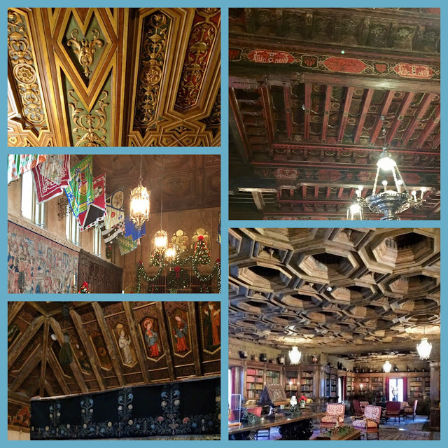 Antique painted wood and contemporary plaster ceilings at Hearst Castle.