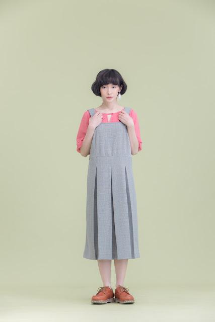 波特小姐吊帶背心壓折格紋洋裝